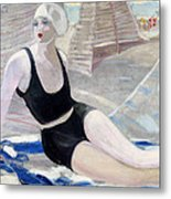 Bather In A Black Swimsuit Metal Print