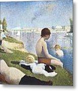 Bathing At Asnieres Metal Print by George-Pierre Seurat