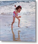 Bathing Beauty Running Metal Print