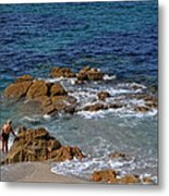 Bathing In The Sea - La Coruna Metal Print by Mary Machare