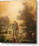 Bathing The Royal Elephant Metal Print