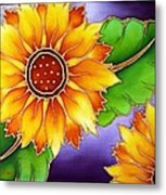 Batik Sunflower Metal Print by Kat Poon