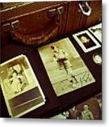 Battered Suitcase Of Antique Photographs Metal Print