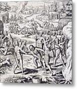 Battle Between Tuppin Tribes Metal Print
