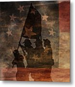 Battle Flag Silhouette 1st Of Three Metal Print by Randy Steele