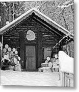 Bavarian Hut In Snow Metal Print