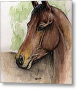 Bay Horse Portrait Watercolor Painting 02 2013 A Metal Print