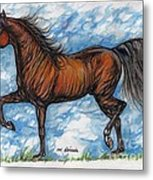 Bay Horse Running Metal Print