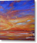 Bay Of Hythe On Fire Metal Print