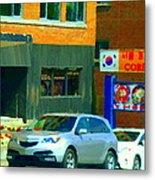 Bbq Coreen Korean Resto Cavendish St Jacques Montreal Summer Cafe City Scene Carole Spandau Metal Print