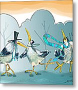 Be Boppin Birds Metal Print