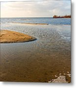 Beach And Rippled Water At The Wadden Sea. Metal Print