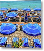 Beach At Nice France Metal Print