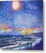 Beach At Night Metal Print by Patricia Allingham Carlson