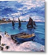 Beach At Sainte Adresse Monet Metal Print
