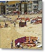 Beach At St Ives Cornwall Uk 1990 Metal Print by David Davies