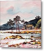 Beach At Waikiki Metal Print