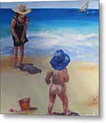 Beach Baby With Blue Hat Metal Print