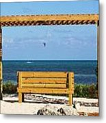 Beach Bench Metal Print