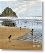 Beach Birds Impasto Metal Print