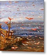 Beach Boat And Birds Metal Print