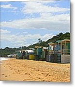 Beach Boxes Mornington Metal Print