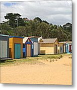 Beach Boxes Mount Martha Metal Print by Rachael Curry