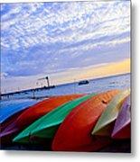 Beach Canoe Metal Print