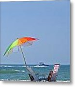 Beach Chairs And Umbrella Metal Print