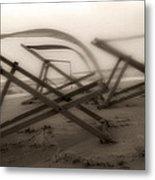 Beach Chairs Profile Metal Print