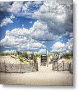 Beach Clouds And Fence Metal Print by Vicki Jauron