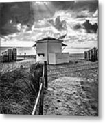 Beach Entrance To Old Glory - Black And White Metal Print by Ian Monk