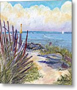 Beach Fence With Ferry Metal Print