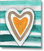 Beach Glass Hearts Metal Print