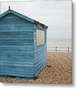 Beach Hut At Kingsdown Metal Print