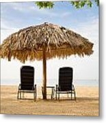 Beach Hut For Two Metal Print