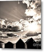 Beach Huts In Black And White Metal Print
