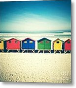 Beach Huts Muizenberg Retro Metal Print