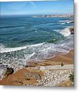 Beach In Resort Town Of Estoril Metal Print