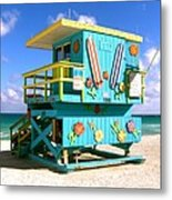 Beach Life In Miami Beach Metal Print