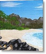 Beach On Helicopter Island Metal Print