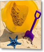 Beach Sand Pail And Shovel Metal Print