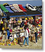 Beach Scene Weymouth Uk 80s Metal Print by David Davies