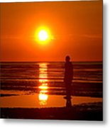 Beach Sculpture At Crosby Liverpool Uk Metal Print