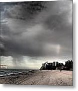 Beach Storm With Rainbow Metal Print