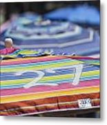 Beach Umbrella Rainbow 4 Metal Print