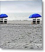 Beach Umbrellas On A Cloudy Day Metal Print