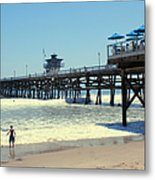 Beach View With Pier 1 Metal Print