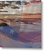 Beach With Flag Metal Print
