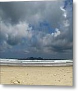 Beach With Gathering Storm Metal Print